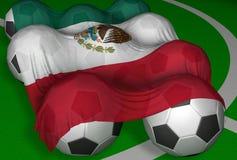 bandierina e calcio-sfere di 3D-rendering Messico Fotografia Stock Libera da Diritti