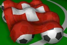 bandierina e calcio-sfere di 3D-rendering Svizzera Fotografia Stock Libera da Diritti