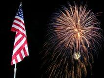 Bandierina e fuochi d'artificio Immagine Stock Libera da Diritti