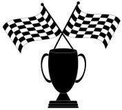 Bandierina e trofeo Checkered Fotografia Stock Libera da Diritti