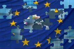 Bandierina europea ed il mondo Fotografia Stock Libera da Diritti