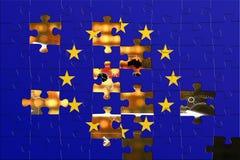 Bandierina europea ed il mondo Fotografia Stock