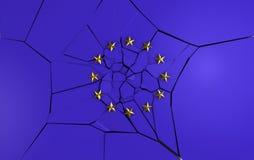 Bandierina europea rotta Fotografia Stock