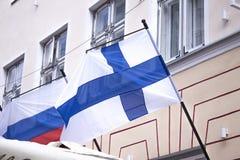 Bandierina finlandese Immagini Stock Libere da Diritti