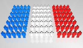 Bandierina francese della gente 3D Fotografie Stock