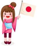 Bandierina giapponese della holding della ragazza royalty illustrazione gratis