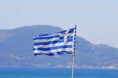 Bandierina greca dal mare Immagine Stock Libera da Diritti