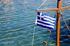 Bandierina greca su una nave Fotografie Stock Libere da Diritti