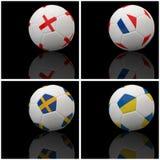 Bandierina internazionale su gioco del calcio 3d Fotografia Stock