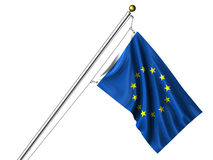 Bandierina isolata di Unione Europea Fotografia Stock Libera da Diritti