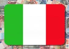 Bandierina italiana con gli euro Fotografia Stock
