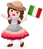 Bandierina italiana della holding della ragazza Immagini Stock Libere da Diritti