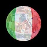 Bandierina italiana sugli euro Immagine Stock