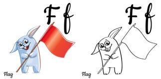 Bandierina Lettera F, pagina di coloritura di alfabeto di vettore Illustrazione Vettoriale