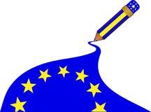 Bandierina magica dell'europeo della matita Immagini Stock