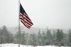 Bandierina nella tempesta della neve Fotografie Stock