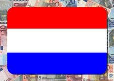 Bandierina olandese con gli euro Fotografie Stock