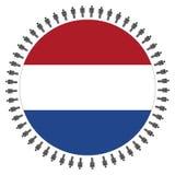 Bandierina olandese rotonda con la gente Fotografia Stock