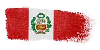 Bandierina Perù di Brushstroke Immagini Stock Libere da Diritti