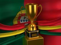 Bandierina portoghese della Repubblica con la tazza dell'oro Immagine Stock