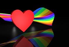 Bandierina rossa del Rainbow di Wiith del cuore Fotografia Stock Libera da Diritti