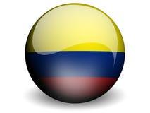 Bandierina rotonda della Colombia Fotografie Stock