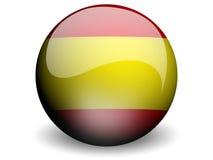 Bandierina rotonda della Spagna Fotografie Stock
