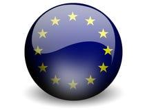 Bandierina rotonda di Unione Europea Fotografia Stock Libera da Diritti