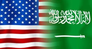 Bandierina S.U.A.-Saudita dell'Arabia Immagine Stock Libera da Diritti