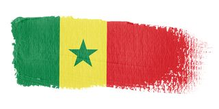 Bandierina Senegal di Brushstroke Fotografia Stock Libera da Diritti