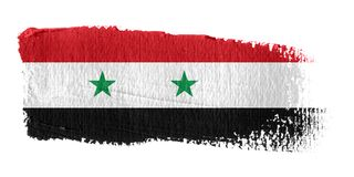 Bandierina Siria di Brushstroke Fotografie Stock Libere da Diritti
