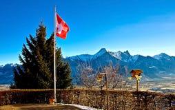 Bandierina svizzera Fotografia Stock