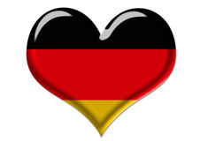 Bandierina tedesca nell'illustrazione del cuore Fotografia Stock Libera da Diritti
