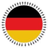 Bandierina tedesca rotonda con la gente Immagine Stock