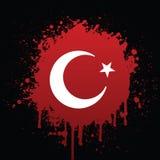 Bandierina turca in spruzzo rosso Fotografia Stock Libera da Diritti