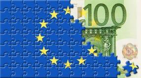 Bandierina unita dell'Europa oltre l'euro 100 Fotografia Stock Libera da Diritti