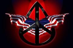 Bandierine americane di pace Immagini Stock