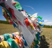 Bandierine buddisti di preghiera Fotografie Stock