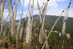 Bandierine buddisti di preghiera - regno del Bhutan Fotografia Stock Libera da Diritti