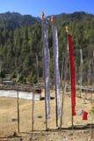 Bandierine buddisti di preghiera - regno del Bhutan Fotografia Stock