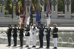 Bandierine cerimoniali militari piene Fotografia Stock