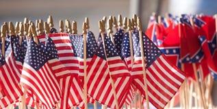 Bandierine confederate degli Stati Uniti Fotografia Stock Libera da Diritti