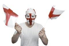 Bandierine d'ondeggiamento del ventilatore dell'Inghilterra Fotografie Stock Libere da Diritti