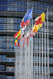 Bandierine davanti al Parlamento dell'Ue Immagine Stock