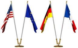Bandierine degli S.U.A., dell'unione europea, della Germania e della Francia Immagine Stock Libera da Diritti