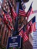 Bandierine degli Stati Uniti a New York durante l'uragano Irene Immagine Stock Libera da Diritti