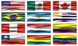 Bandierine dei Americas Fotografia Stock