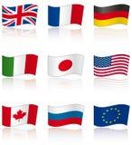 Bandierine dei membri G8 con la riflessione Fotografia Stock Libera da Diritti