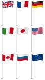 Bandierine dei membri G8 sul palo di bandierina isolato Fotografie Stock
