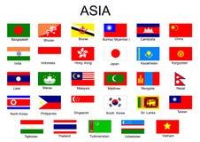 Bandierine dei paesi asiatici Fotografia Stock